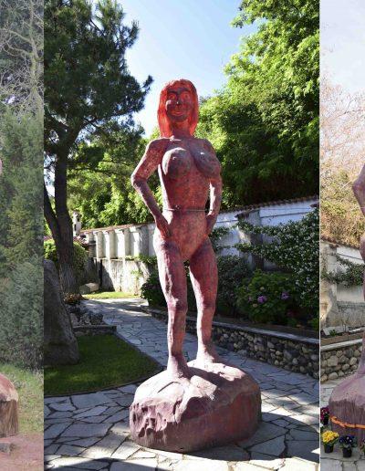 Image 1 : GAIA, sculpture bois (original).  Images 2-3 : GAIA, résine polymère (copie)